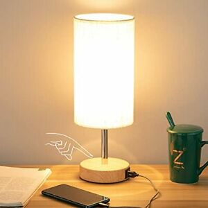 Bedside Lamp with USB port - Touch Control Table Lamp for Bedroom Wood 3 Flaxen