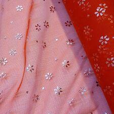 Tulle rosso con argento FOIL fiori in tessuto * per metro