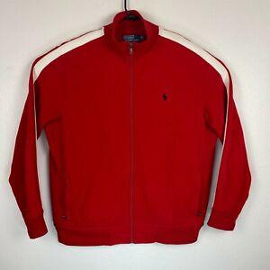 Polo Ralph Lauren Performance Mens sz XL Red White Full Zip Track Jacket