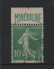 """FRANCE N° 188 A """" SEMEUSE 10c BANDE PUBLICITAIRE  MINERALINE """" OBLITERE TTB T636"""