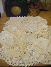 More details for job lot of 20 vintage doilies / mats crochet lace white / cream (lot 1)