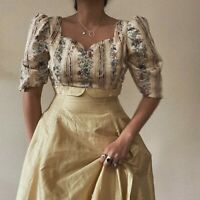 Vintage Yellow Brocade Satin Prairie Folk Maxi Dress UK 10 1970s Gunne Victorian
