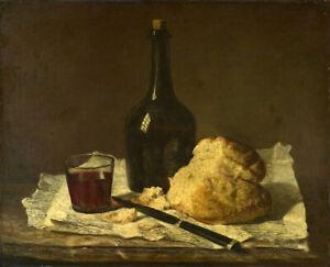 Oil painting jean baptiste simeon chardin - Still Life & Bottle Glass and Loaf
