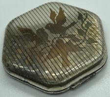 Vintage Ladies Female Makeup Compact Mirror Metal Silver Tone Three Bird #12