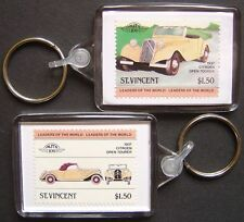 1937 CITROEN Open Tourer Car Stamp Keyring (Auto 100 Automobile)