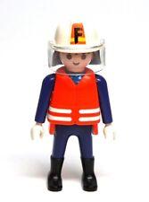Playmobil Figure Fire Station Truck Fireman Firefighter w/ Helmet
