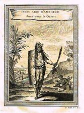 """Prevost's - """"INSULAIRE D'AMBOINE, ARME POUR LA GUERRE"""" - Copper Engraving -1746"""