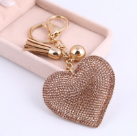 Heart Keychain Leather Tassel Key Holder Metal Crystal Key Chain Charm Keyring