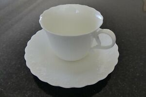 """MIKASA """" WHITE SILK"""" TEA CUP & SAUCER SETS """"AS NEW"""" CONDITION 4 sets available"""