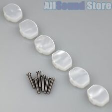 NEW (6) Small Tuning Key Buttons For SCHALLER Tuners M6 Mini - WHITE PEARLOID