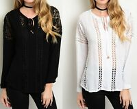 Black or White Eyelet Lace Applique Inset Long Sleeve Gauze Blouse Top S M L