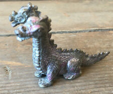 Miniature Pewter Two Headed Dragon No Markings Collectible Maker Help ? Pink