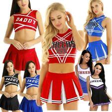 Women Schoolgirl Daddy Printed Cheerleader Uniform Rave Dance Fancy Dress Outfit