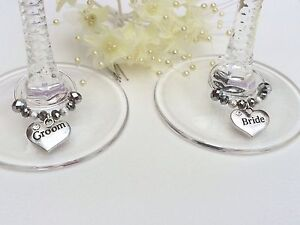2 Silver Crystal Wedding Wine Glass Charms. Bride And Groom. Gift Top Table
