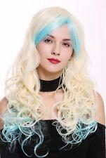 Peluca de Mujer Cosplay Largo Rizado Rizos Rubio Platino Azul Claro Raya