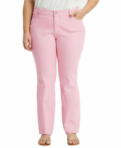 Levi's Women's Pink Denim Straight Relaxed Fit Jeans Plus Size New