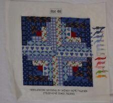 WENDY HOPE FALKNER completed needlepoint tapestry panel blue cottagey design
