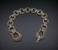 "Ornate Sterling Silver Marcasite Studded Buckle Bracelet 7.5"" Free Ship BS1855"