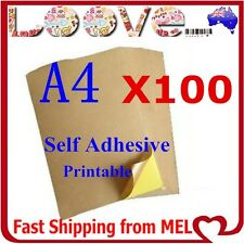 100x A4 Brown Kraft Sticker Paper Sheet Self Adhesive Label Laser Inkjet Printer