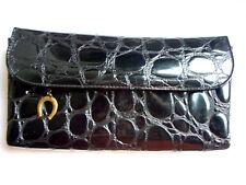 Vintage Damen Kosmetiktasche Tasche Geldbörse schwarz Krokolederoptik Lackkunst