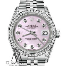 Ladies Rolex Datejust 26mm Steel Pink Mother of Pearl Color Diamond Watch