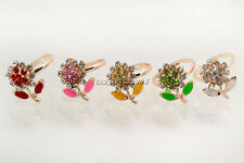 Wholesale lots Jewelry 10Pcs Flower Rhinestone Gold Plated Woman Gift Rings FREE