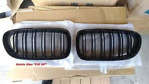 MIT GLOSSY BLACK DOUBLE RIMS FRONT KIDNEY GRILLE BMW F10 5 SERIES 2010-NOW