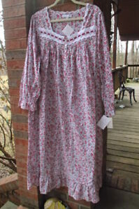 nwt eileen west women's xl 100% woven cotton floral print long nightgown pinks