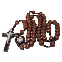 Brown Rosary Beads Decorated with Cross Decor with Order of Saint Benedict 20""