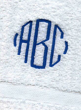 12 MONOGRAMMED WHITE HAND TOWELS PACK / GRANDEUR HOSPITALITY/100%COTTON