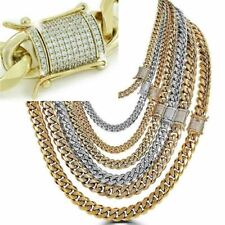 Miami Cuban Link Chain W. 1ct Diamond Clasp 14k 18k Gold Plated Stainless Steel