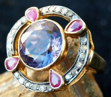 Victorian 925 Silver Cocktail Ring 0.80ct Rose Cut Diamond Sapphire Ruby
