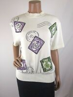 St. John Collection Fashion Postage Stamp Sweater M Vintage Ivory Purple Green