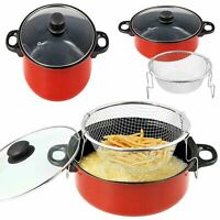 23cm Red Chip Pan Deep Fat Fryer Cooking Pot Frying Basket With Glass Lid Set