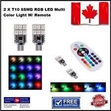 2x T10 5050 LED RGB Multi-Color Car Interior Wedge Side Light Remote Control