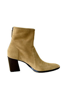 ZARA Soft Split Suede Leather Ankle Boots Brown Pointed Toe Size EU 41