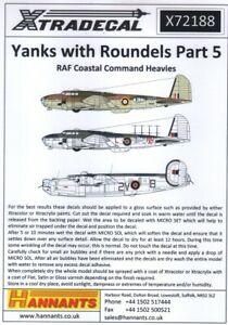 X72188 NEW Xtradecal 1:72 RAF Coastal Command Heavies - Yanks with Roundels Pt.5