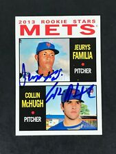 2013 Topps Heritage JEURYS FAMILIA COLLIN MCHUGH 398 Signed Auto METS In Person