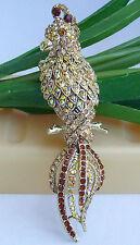"""Bird Brooch Pin Art Deco 06607C4 Vintage 3.74"""" Topaz Austrian Crystal Parrot"""