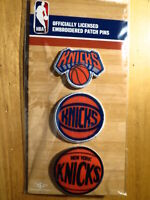 Official Licensed NBA New York Knicks Embroidered Patch Pin Set