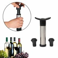 Reusable Bottle Vacuum Wine Sealer Preserver Saver Pump+2 Stoppers Black  S