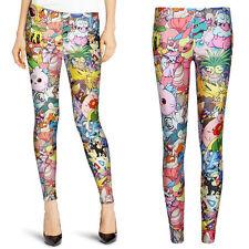 Fashion Women Monster Collage Funny Skinny Leggings Slim Pants Stretch Trouser