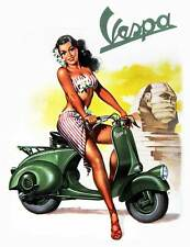 VESPA Vintage Pinup Girl QUALITY CANVAS PRINT A4 Retro Scooter Poster SPHINX