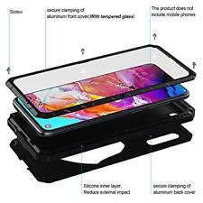 Samsung Galaxy A70 Case Aluminum Hybrid Bumper Kickstand Screen Protector Black