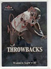 WARREN SAPP TAMPA BAY BUCCANEERS HALL OF FAME AUTOGRAPHED FOOTBALL CARD