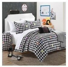 Black White Gray Teal Houndstooth 9 pc Comforter Sheet Set Twin XL Full Bed Bag