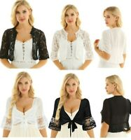 Women Summer Crop Tops Bolero Shrug Shawl Bridal Cardigan Cropped Cover Ups