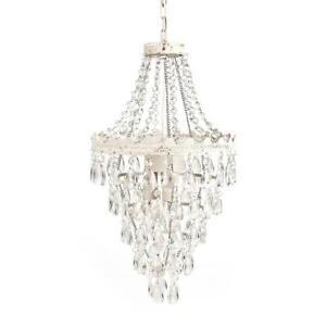 Tadpoles 1-Light Antique White Diamond Pendant Lamp Chandelier