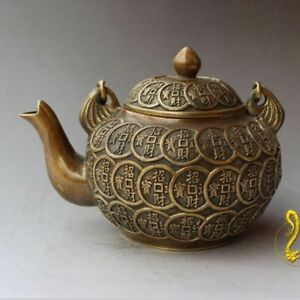 Antique china bronze hand made fengshui lucky QING coin teapot wine pot flagon