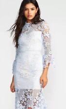 Free People Floral Crochet Lace La Spezia Dress Blue New Wedding Sz Large